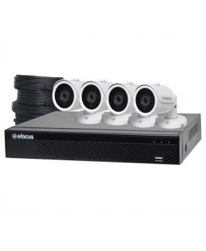 eFocus 5MP AHD Real Time CCTV Hybrid DVR + 4 Camera Bullet Package S9901J