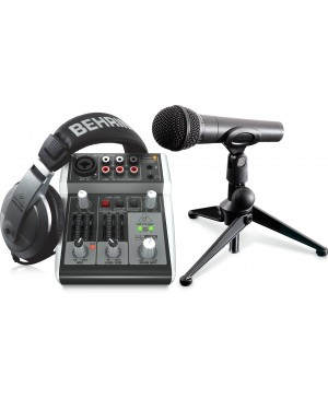 Behringer PODCAST-2 Podcastudio Bundle, USB Mixer, Microphone, Headphones