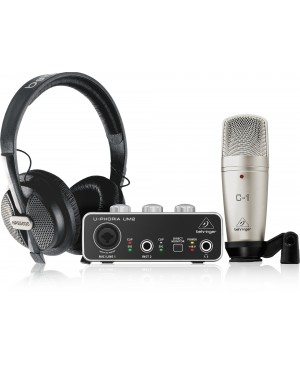 Behringer STUDIO Complete Recording/Podcast Bundle, USB, Mic, Cans