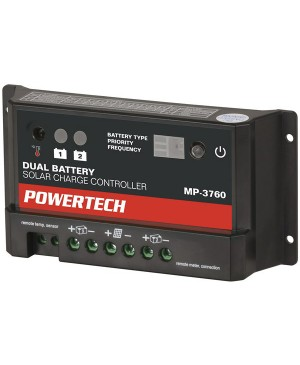 Powertech 12/24V 10A Dual Battery PWM Solar Charge Controller, LED Ind. MP3760