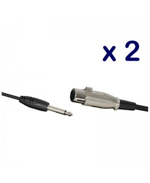 2 Microphone Leads, 6.3mm Mono Plug to 3 Pin XLR Socket, 6m