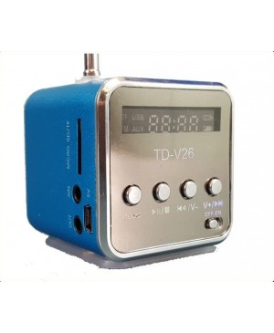 PRICE DROP:Cute Cube FM Radio,Blue,USB,Micro SD,TF Input,USB Battery TD-V26