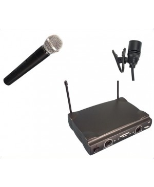 PRICE DROP:Complete Wireless Microphone System,1Lapel Mic,1Hand Mic WM222-LP+HH