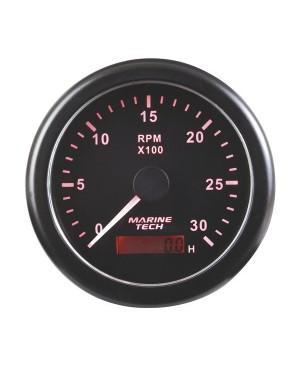 Tachometer, 0-3000 RPM, 10cm, Black Background, MGG105