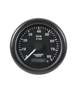 Tachometer, 0-8000 RPM, 10cm, Black Background, MGG110