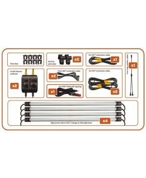Hard Korr Camp Light Kit, 4x48cm Orange, White LED Bar Strips TLC102 CAMPKITOW4D