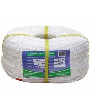 Polyethylene Staple Silver Rope,24mm,3Strand,100m Roll TRA045