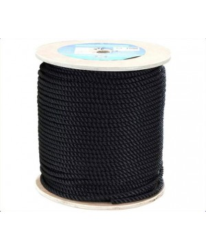 Black Polyester 3 Strand Rope,14mm,3400kg BS,100m Roll TRA215