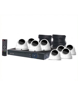 4MP AHD Real Time CCTV Hybrid DVR + 8 Dome Camera Package S9905C