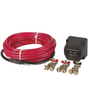 PowerTech 12V 140A Dual Battery Isolator Kit with Wiring Cables MB3880
