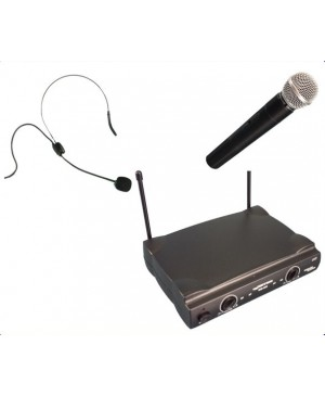 Wireless Microphone Sys 1 HandHeld,1 HeadWorn Mic WM222