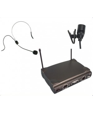 PRICE DROP:Complete Wireless Microphone System,1 LapelMic,1 Head Mic WM222-LP+HW