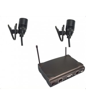 Complete Wireless Microphone System, 2 Lapel Mics WM222