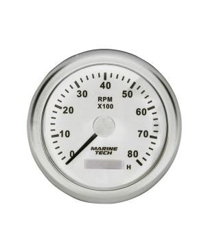 Tachometer Gauge 0-8000RPM 10cm White MGG112