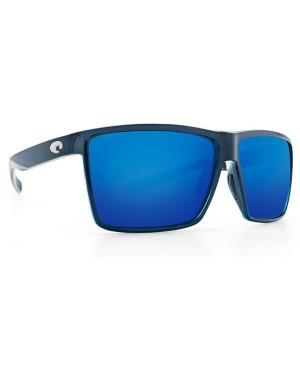 Costa Rincon Sunglasses, Shiny Black Frame, 580G Blue Mirror Lens RIN 11 OBMGLP