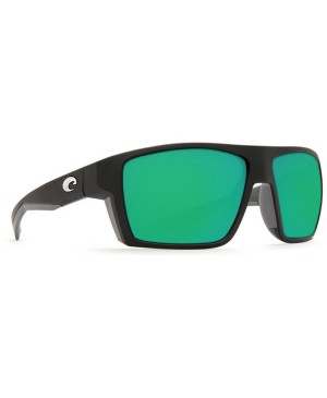 Costa Bloke Sunglasses, Black, Grey Frame, 580G Green Mirror Lens BLK 124 OGMGLP