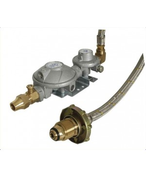 Gas Regulator Kit for Single Bottle,Dual Stage, Hose RGC415