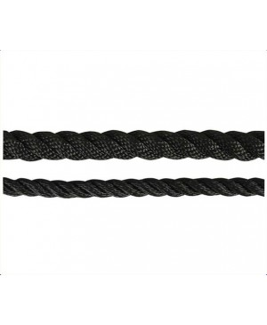 Black Polyester 3 Strand Rope,10mm,1200kg BS,100m Roll TRA205